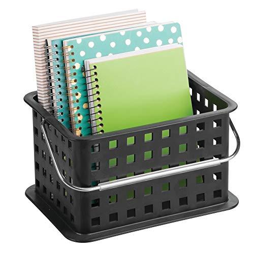 iDesign Basic Aufbewahrungkorb, kleine DVD Aufbewahrungsbox aus Kunststoff, schwarz