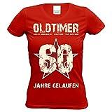 Geschenkidee - Tshirt für Frauen - Zum 60. Geburtstag Oldtimer 60 im Besonderem Retro Design für Jahrgang 1958 Farbe: Rot Gr: XL
