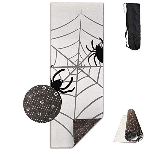 Deglogseccce Yogamatte/Übungsmatte, Suitable as a Yoga, Pilates and Camping Mat Spider Web Printed 24 X 71 Inches Premium for Fitness Exercise Pilates with Carrying Strap (Spider Web-einsätzen)