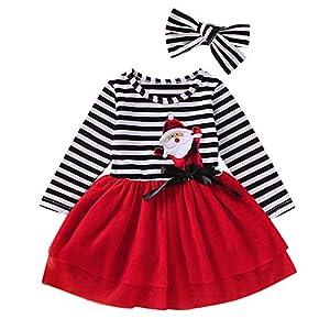 Haokaini kleines Mädchen Weihnachtsfeier Kleid gestreiften Mesh Tutu Prinzessin Kleid mit Stirnband