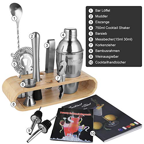 Yissvic Cocktailshaker Set 11Pcs Cocktail Mixer Professionelles Edelstahl Cocktailset Cocktail Shaker 750ml (Verpackung MEHRWEG)