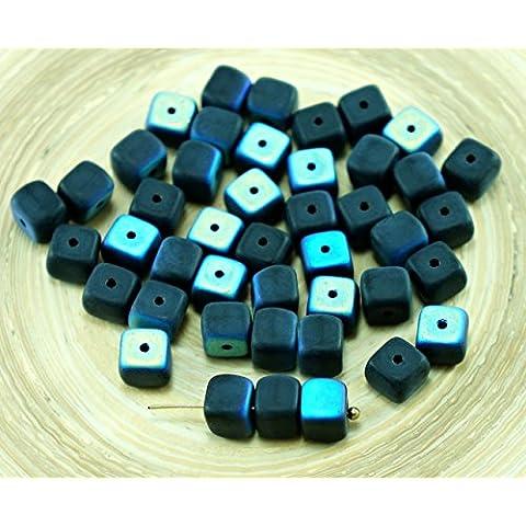 24pcs Nero Opaco AB Metà ceca Cubo di Vetro Perline Distanziatore 5mm x 7mm