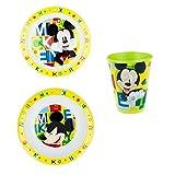 SET Pappa Mickey Mouse Topolino Disney 2 Piatti + Bicchiere Bambino - TOP19/3PZ