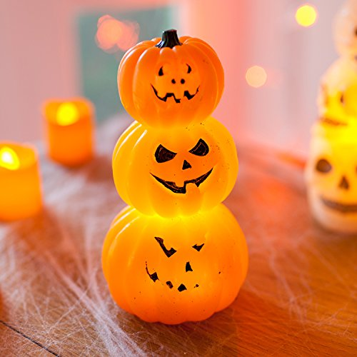 Lights4fun - candela led in cera con 3 zucche di halloween a pile