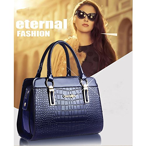 (G-AVERIL) PU in pelle Donna Borsa Handbag borsa a Spalla Borse a mano Tote Bag Shoulder Bag con Mutil tasche blu