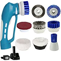 Scrubber,Power Cleaning Brush Cordless Power Handhold Electric Scrub with Rechargeable Battery 7 Replacement Brushes and 1 Scouring Pad for Kitchen/ Bathroom/BBQ Grill Scrubbing
