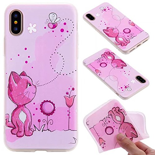Ooboom® iPhone 5SE Hülle TPU Silikon Matt Prägen Weich Handy Tasche Case Cover Flexibel Bumper Ultra Dünn Slim für iPhone 5SE - Mädchen Katze Rosa
