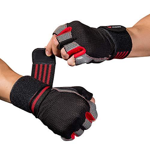 waccet guanti per palestra, guanti per crossfit con protezione del palmo & supporto per il polso, antiscivolo traspiranti sport guanti per sollevamento pesi, crossfit, pull-up, fitness (rosso, l)
