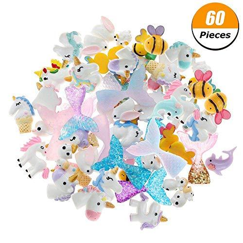 draguimel 60 Stück Schlamm Charms, Mixed Meerjungfrau Schwanz Einhorn Dolphin Bee schlamm Perlen für Ornament Scrapbook DIY Handwerk