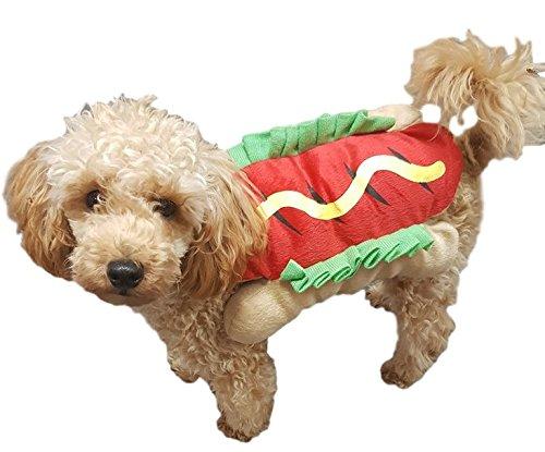 ANIMALI DOMESTICI CANE GATTO HOT DOG Carnevale Festa Halloween vestiti abbigliamento vestito costume completo S-L - Medium