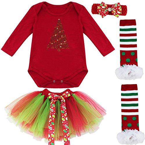 iEFiEL Conjunto Infantil de Navidad Fiesta Pelele + Falda Estilo de Vestido Algodón para Bebé Niña Recién Nacidos Árbol de Navidad 6-9 Meses