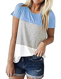 K-youth® Blusas Para Mujer, Camisa de Manga Corta Para Mujer Rayas Casual Camiseta Mujer Ropa de Mujer EN Oferta Suelto Tops Blusas de Mujer…