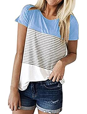 K-youth® Blusas Para Mujer, Camisa de Manga Corta Para Mujer Rayas Casual Camiseta Mujer Ropa de Mujer EN Oferta...