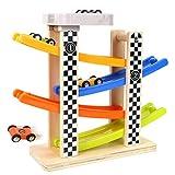 EisEyen Auto Rennbahn Holz Etagen Spielzeug mit Rennautos Rennbahnspielzeug Für Jungen und Mädchen Geschenke