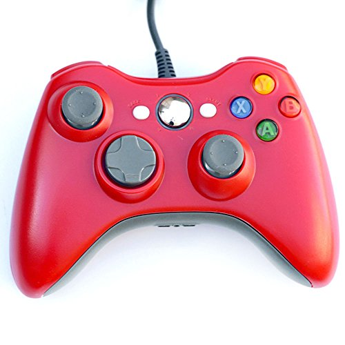 Controller für Xbox 360, lyyes Xbox 360Wired Controller USB Xbox Gamepad Joystick für Windows & Xbox 360Konsole Schwarz Rot (Xbox 360 Schwarz Konsole)