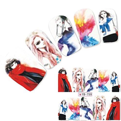 Just Fox - Tattoo Nail Art Autocollants Anime le Japon Manga Geisha Water decall