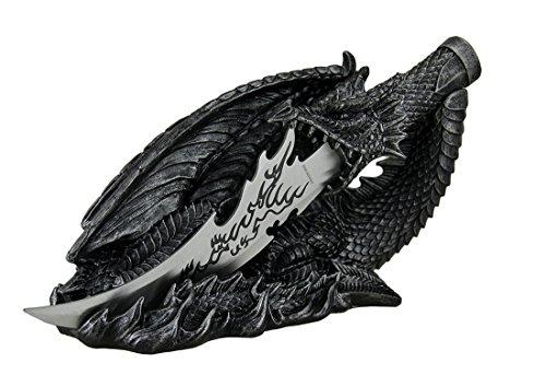 Kunstharz Buchstabe Openers Saurian Athame Deko Dragon Fantasy Messer mit handbemalt Halterung...