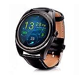 Relojes Inteligentes Best Deals - RG Inteligente a prueba de agua Reloj Bluetooth pulsera de los deportes de la cámara remota Health Monitor para Android IOS (Reloj del cuero negro)