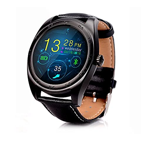 RGTOPONE Multifunctional Bluetooth Smart Watch Splash Resistant Sports Bracelet Pedometer Tracker Fitness Fitness Distance Camera Health Monitor For Android IOS (En cuir noir Montre)