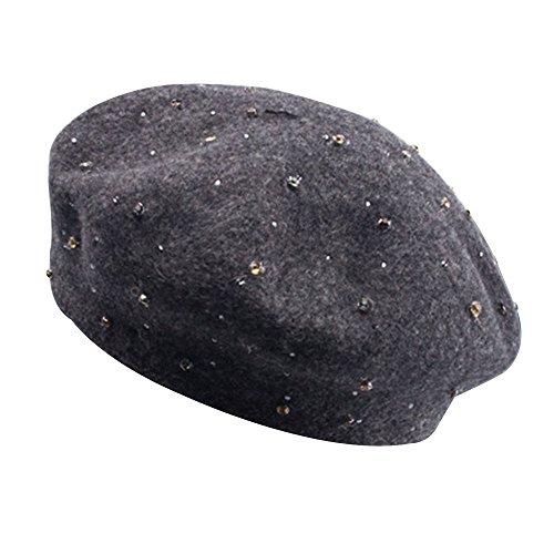 Kangqifen Baskenmütze für Damen Rivet Wollmütze Winter Warm Mütze Verschiedene Farben(Grau)