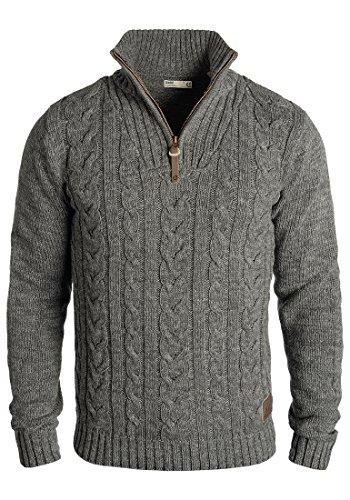 !Solid Pankraz Herren Winter Pullover Strickpullover Troyer Grobstrick mit Zopfstrickmuster und Reißverschluss, Größe:XXL, Farbe:Dark Grey (2890)
