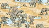 Fat Quarter Safari Elefanten Scenic Muster 100% Baumwolle