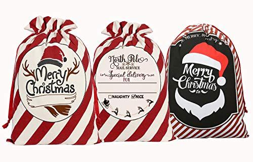 KEFAN 3 Piezas Bolsa Lona Santa Saco Navidad Regalos