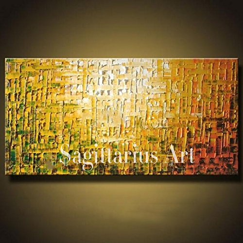 HANDBEMALT Landschaft abstrakt Palette Dick Messer Ölgemälde Golden Gelb Wall Home Living Room Art, canvas, gelb, 32x64inch(80x160cm)