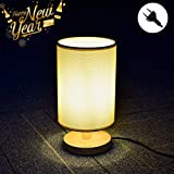 W-LITE Tischlampe aus Holz, Nachttischlampe Vintage, Stehlampe Modern auf Tisch, E27-Fassung & EU-Stecker Warmweiß für Wohnzimmer, Kinderzimmer, Schlafzimmer, Esszimmer Rund Gelb