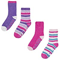 Street Essentials Girls Cosy Supersoft Slipper Socks 4 Pack Purple & Pink 6-8.5