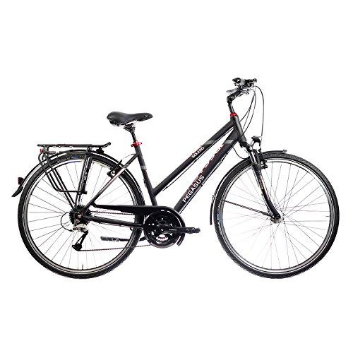 Pegasus Solero SL Trapez Damen 24 Gang Cityrad Trekking Fahrrad 2017, Farbe:Schwarz, Rahmenhöhe:50 cm