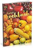 Dékokind Leeres Kochbuch: Für über 80 Lieblingsrezepte || Ca. A5 Softcover || Rezeptbuch zum Selbstgestalten / Selberschreiben mit Inhaltsverzeichnis || Motiv: Bunte Früchte