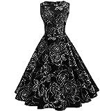 BURFLY Damen Kleid Frauen Vintage Floral Bodycon Sleeveless Beiläufiges Abend-Partei-Abschlussball Schwingen Kleid Dünnes Reich Falten Kleid (L, Black)