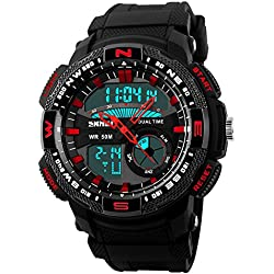 Digital Men Sport watches Resin Strap Multi-function Dual Time Waterproof Wrist Watch
