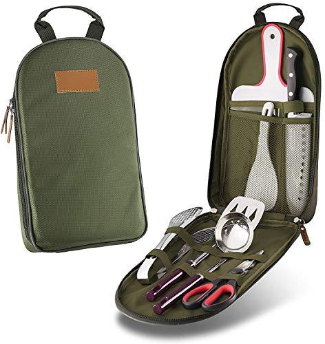 Kefaith Set di utensili da cucina per camper utensili da cucina - Set di utensili da campeggio per barbecue portatili da 7 pezzi Kit da viaggio con custodia resistente all\'acqua | Tagliere | Paddle pe