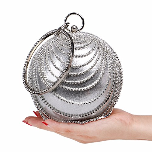 Sphärische, Tragbare, Abendessen Tasche, Hochwertige, Diamond, Ms -, Abend - Tasche, Hand - Tasche silvery