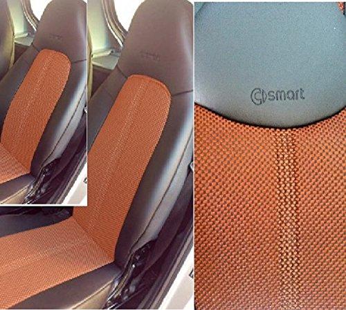 TOPCAR-ATHENS 1+1 Ecopelle (Nero) & Bicolore (Νero e Arancione) Sintetica Due Auto Coprisedili (Adatti per Modelli 1998 1999 2000 2001 2002 2003 2004 2005 2006 2007)