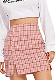 SheIn Women's Cute Plaid Skirt Split Hem Zipper Back A-Line Mid Waist Mini Skirt Pi