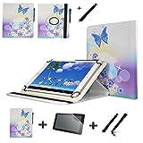3-in-1-Set 25,7 cm (10,1 Zoll) Lederhülle 360 Tablet Hülle + Displayschutzfolie + Stylus Pen für Archos Diamond Tab (2017) – Schmetterling Sterne