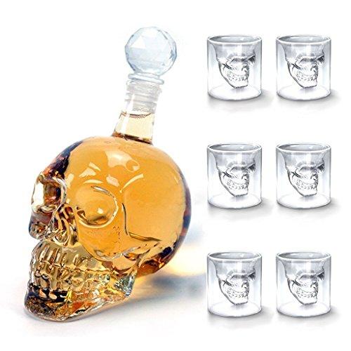 Amzdeal Bouteille de Vin en Forme de Crâne 350ml avec 6 Verres à Whisky/Liqueur Tête de mort 75ml, Carafe de Vodka /Whiskyen verre cristal transparent