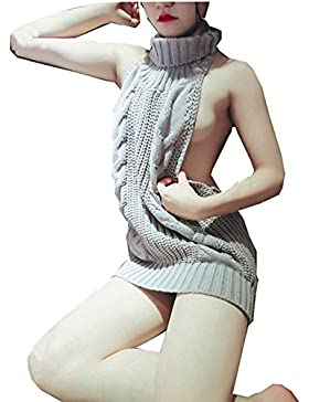 JYSPORT Damen Pullover ärmellose Rückenfrei Turtleneck Open Back Sweater Backless Jumpsuit Strickpullover