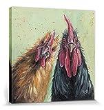 1art1 98891 Hühner - George Und Mildred, Louise Brown Poster Leinwandbild Auf Keilrahmen 40 x 40 cm