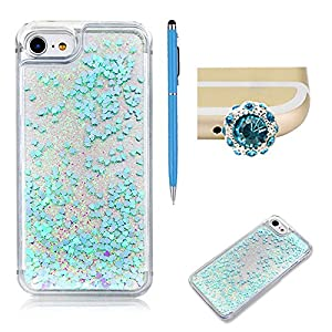 For iPhone 7 Plus Liquid Case,SKYXD Luxury Floating Flowing 3D Novelty Design Bling Shiny Sparkle Blue Heart Glitter Plastic Pattern Hard Back Cover Protective Skin Cell Phone Cases For iPhone 7 Plus + 1 x Touch Screen Stylus + 1 x Dust Plug