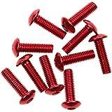 10x Tornillos Pernos Decorativa Licencia Marco de Coche Placa de Matrícula Cubierta Aluminio 16mmx5mm Roja
