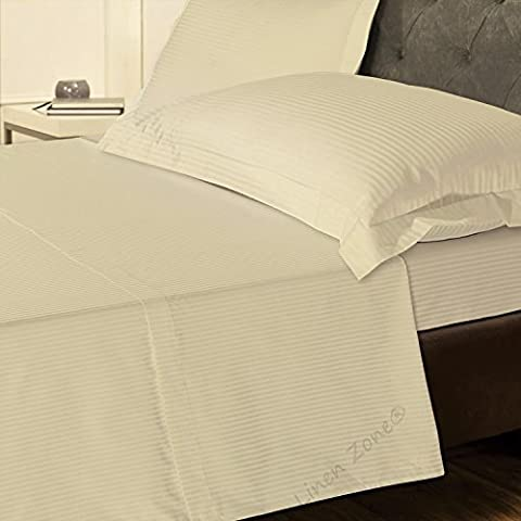 Linen Zone 800 Thread Count Pure Natural Egyptian Cotton T800 5 Star Hotel Quality Stripe Bedding (King Flat Sheet, Cream)