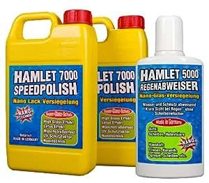 Hamlet 7000 Speedpolish Nano Lack Versiegelung 2x500ml und Hamlet 5000 Regenabweiser Nano-Glas-Versiegelung 236ml, 3-teiliges Sparset