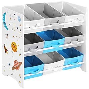 SONGMICS Kinderzimmerregal, Spielzeug-Organizer, Bücherregal für Kinder, mit 9 Aufbewahrungsboxen aus Fleece, Kinderzimmer, Schule, Kindergarten, 62,5 x 29,5 x 60 cm, Weltall-Motive, weiß GKR33WT