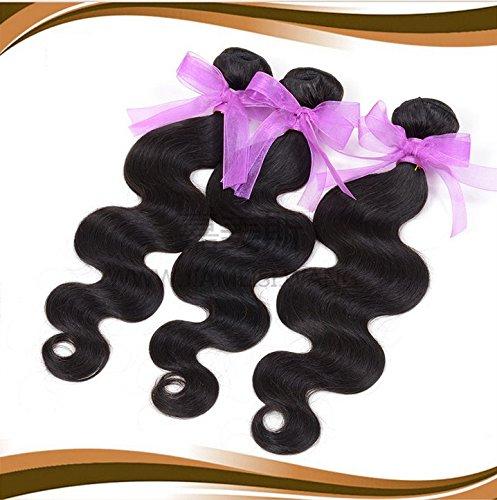 Charming Hair Lot de 3 extensions en cheveux humains naturels non traités brésiliens vierges Ondulation légère Couleur naturelle 300 g