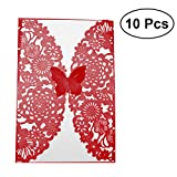 NUOLUX Invito Schede di Invito di Nozze Hollow Butterfly e Kit di Buste per Party 10Pcs (Rosso)