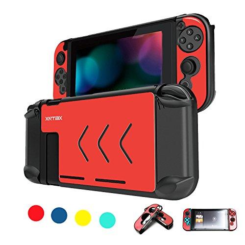 Schutzhülle Kompatibel mit Nintendo Schalter-Kratzfest Staubdicht Hard Cover Muscheln für Nintendo Schalter Konsole und Joy-Con Controller NS (Rot) (Video De Wii Juego)